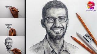 Google CEO Sundar Pichai Drawing   Koh i noor pencils   online art classes