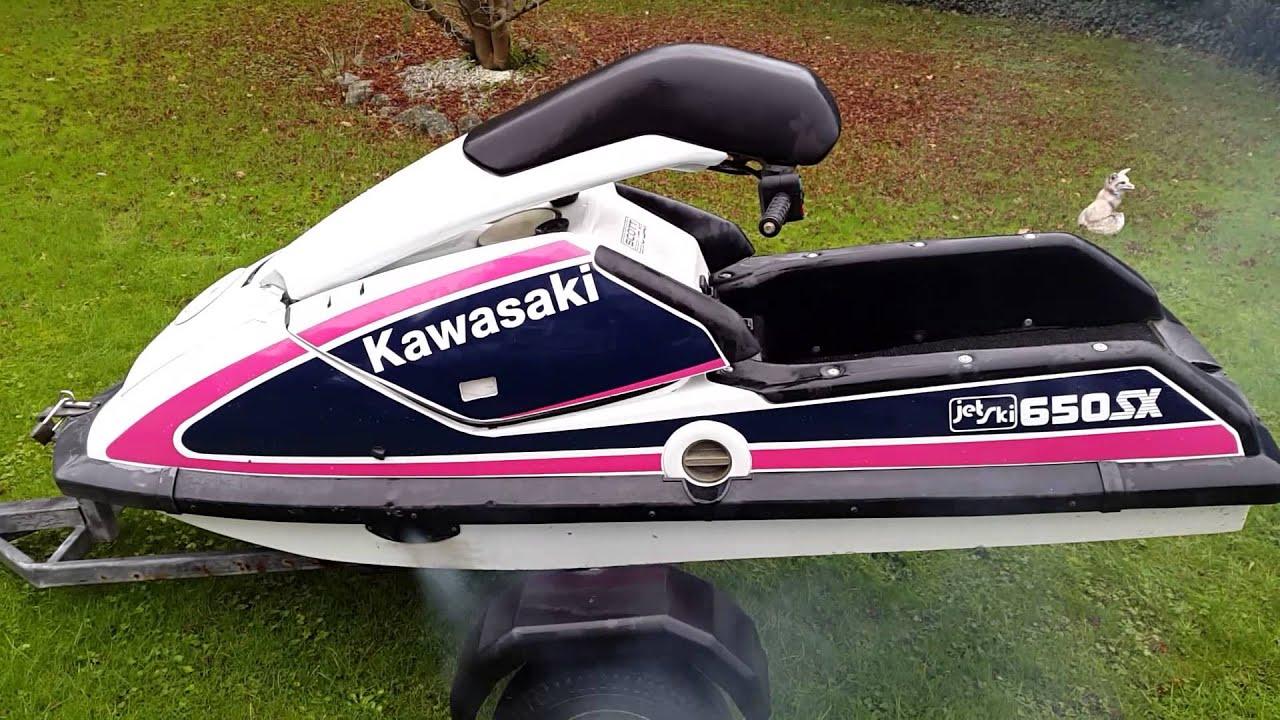 kawasaki js 650sx stand up jet ski - 2 stroke - youtube