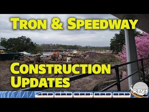 Tron Lightcycles & Tomorrowland Speedway Construction Updates from Peoplemover - Walt Disney World