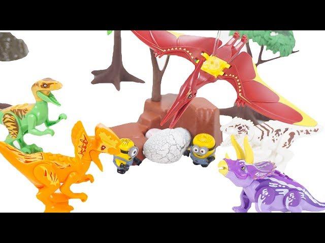 Minions Have Lego Transforming Gun! Dinosaurs Gone Lego ! Lego Tyrannosaurus Pteranodon   ToyMoon