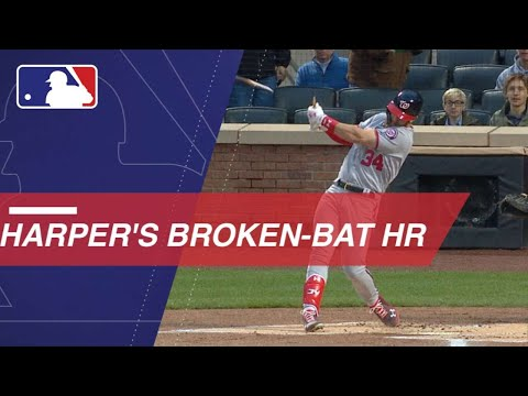 Harper crushes a homer despite breaking his bat