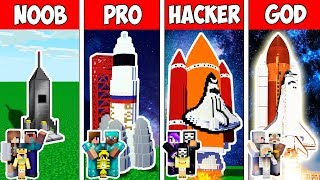 Minecraft Noob Vs Pro Vs Hacker Vs God  Family Secret Block Spaceship In Minecraft  Animation