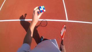 Solving a rubik's cube while playing tennis (Serial solver #7)