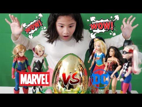 MARVEL VS DC BIG SURPRISE!!! EGG HUNTING CHALLENGE! Marvel toys! DC toys
