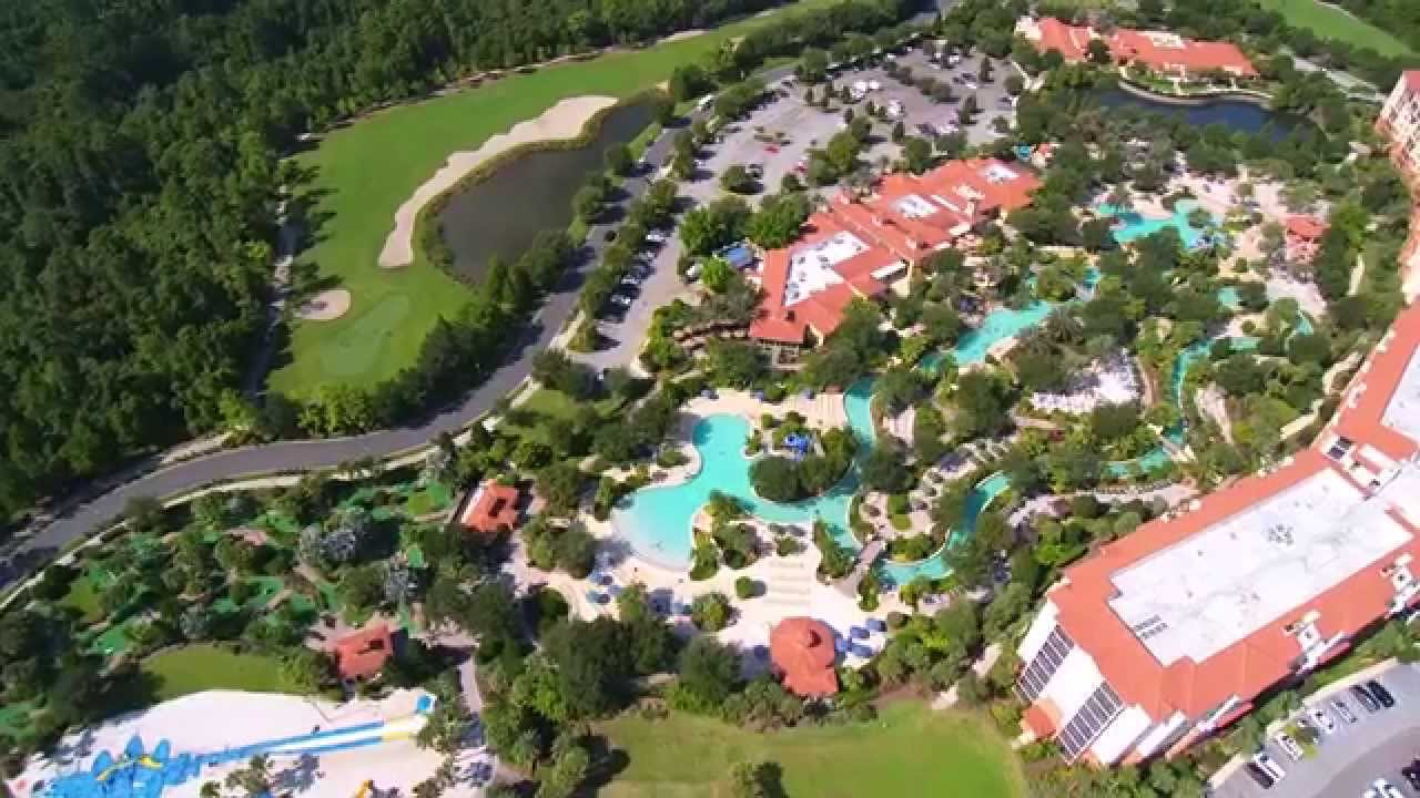 orange lake resort from above river island with yuneec