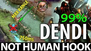 Not HUMAN Hook with Dendi Pudge WTF Max Range 99% Dota 2 [MUST WATCH]