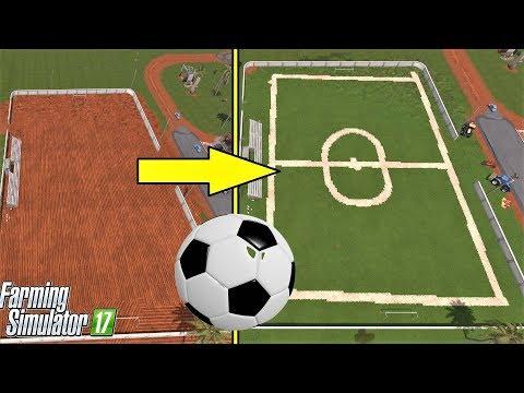 Farming Simulator 17 : FOOTBALL FIELD BUILDING - GRASS JOB!!!