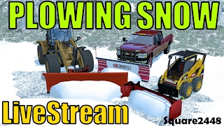 Farming Simulator 17 - Plowing Snow Live With Cat Loader & Skidsteer