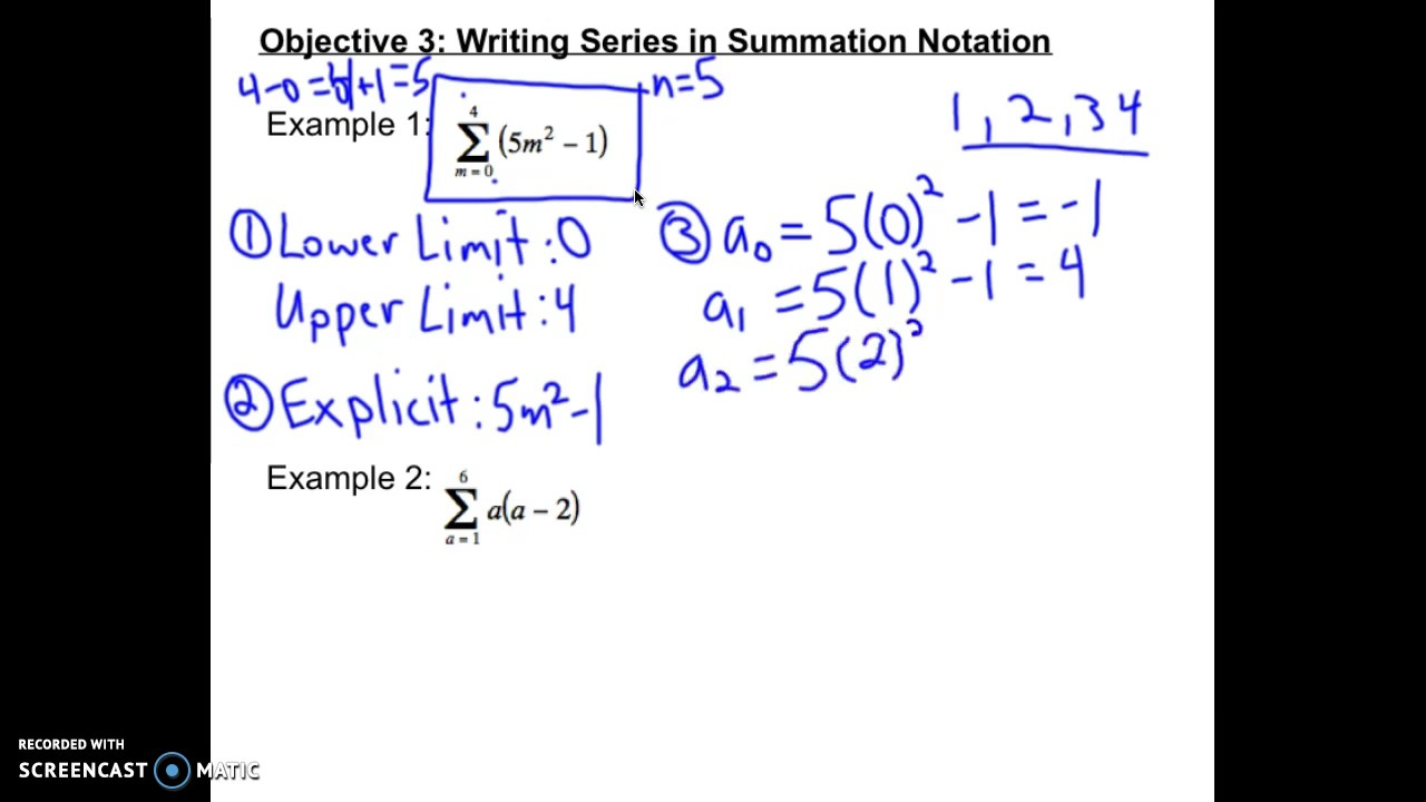 Writing A Series In Summation Notation Youtube