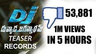 Allu arjun dj duvvada jagannadham teaser records    fastest 50k disliked teaser in tfi    nh9 news