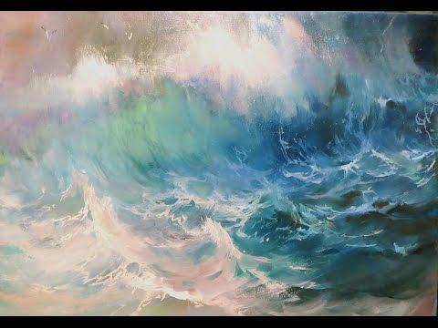 The waves. Oil painting. Marine paintings.