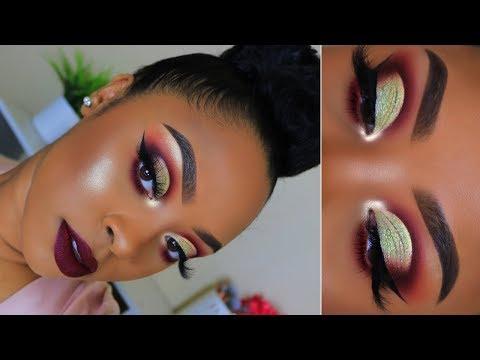 GRWM Hair + Makeup | Cut Crease + Red Lip | Holiday Makeup Tutorial
