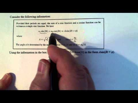 Trigonometry:  Writing a Sum of Sine and Cosine as a Sine Function