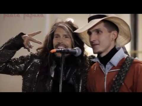 Aerosmith Steven Tyler - sang with the street musician Moscow