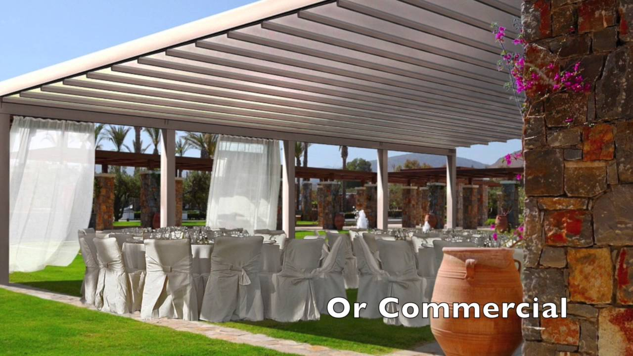 flute waterproof retractable pergola awning youtube