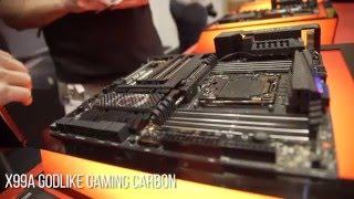 GODLIKE Carbon MSI Motherboard and gold PCBs - CES 2016
