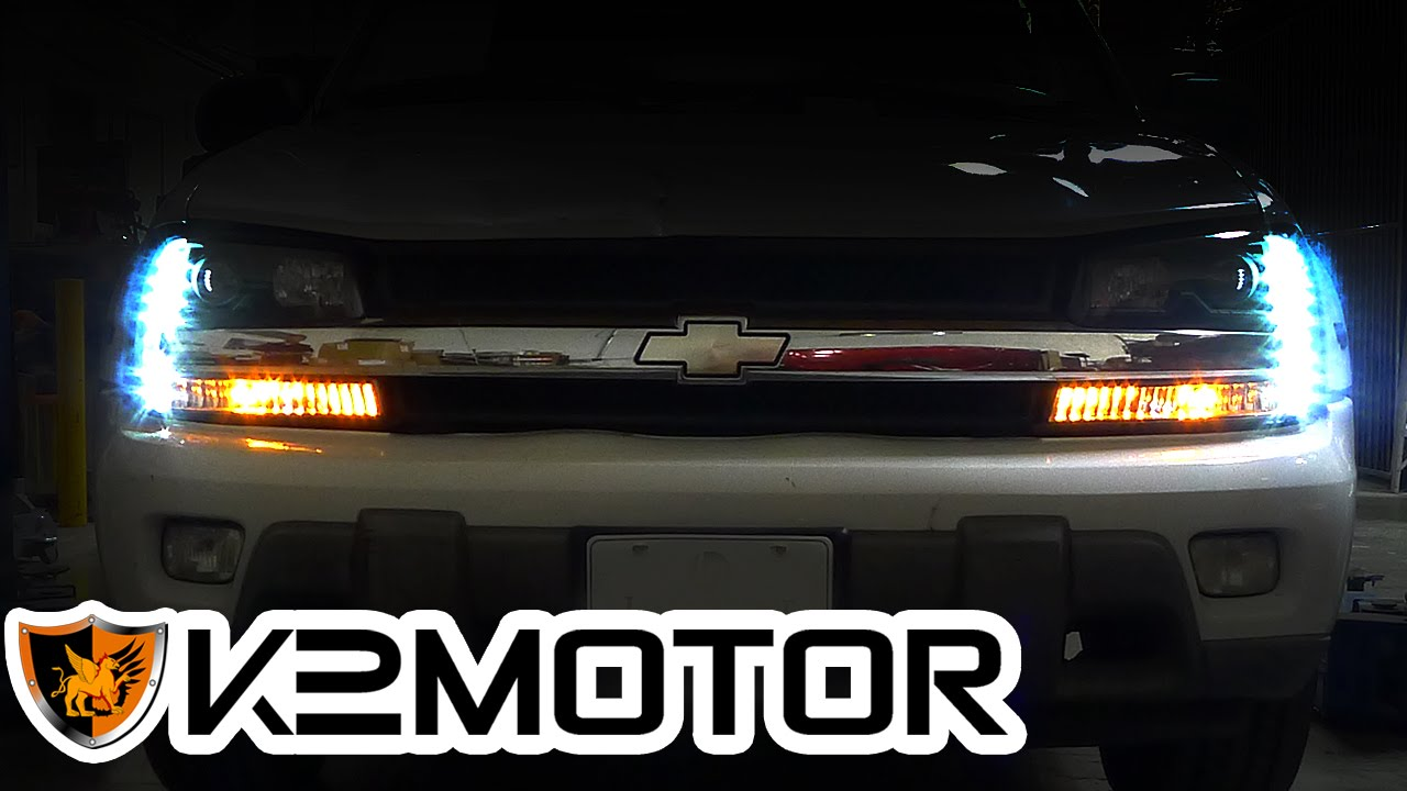 hight resolution of k2motor installation video 2002 2009 chevy trailblazer projector headlights