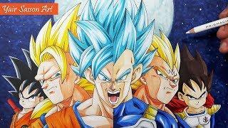 Drawing the EVOLUTION of Goku and Vegeta!
