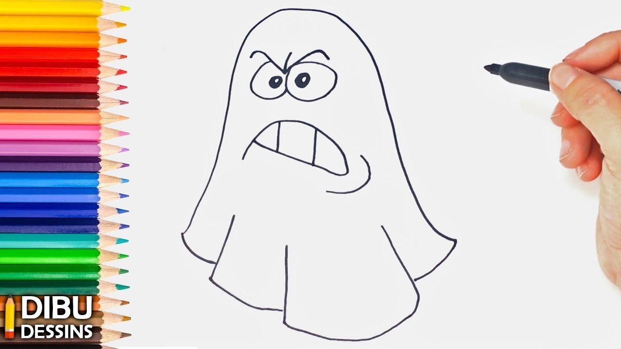 Comment dessiner un fant me dessin de fant me tr s facile youtube - Dessiner un fantome ...