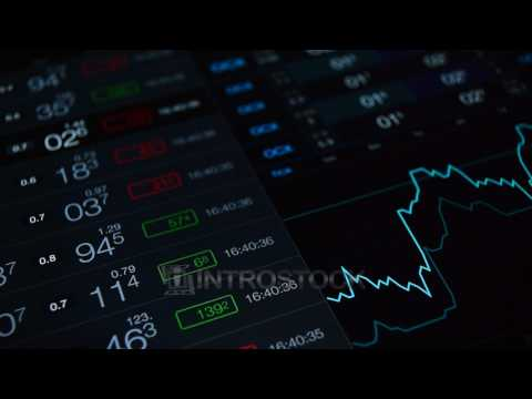 Stock video: stock market tickers and chart seamless loop financial business video background.