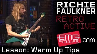 Richie Faulkner of Judas Priest gives a quick warm up tip on EMGtv