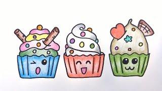 คัพเค้ก สอนวาดรูปการ์ตูนน่ารักง่ายๆระบายสี How to Draw Cupcakes Cartoon Easy for Kids