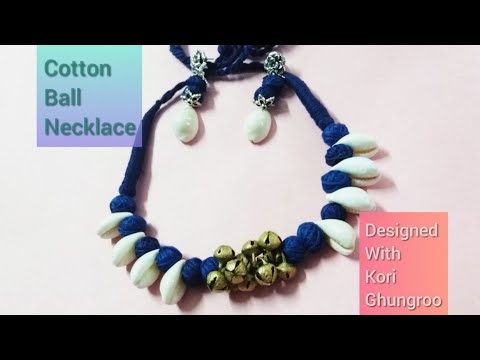 How to make German silver cotton thread bead necklace।।Kori necklace with ghungroo।।choker necklace