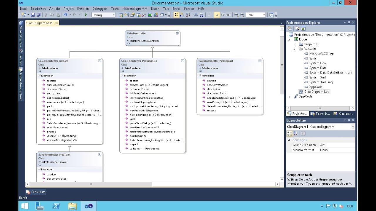 Dynamics Ax 2012 Class Diagram In Visual Studio