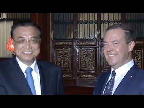 Chinese Premier Li Keqiang meets Russian PM Medvedev in Beijing