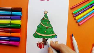 Christmas Tree Drawing And Coloring For Kids
