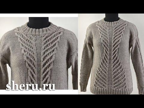 Супер стильный свитер спицами Урок 154 часть 1 из 2