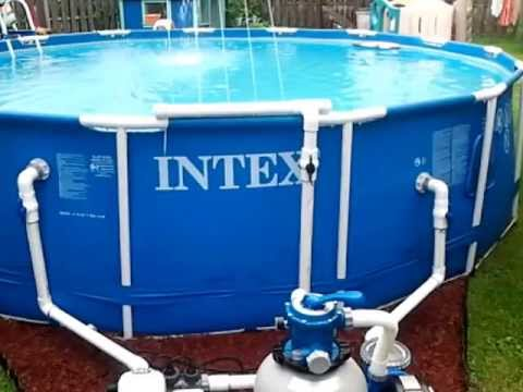 Intex pool with pvc plumbing youtube for How to install swimming pool plumbing