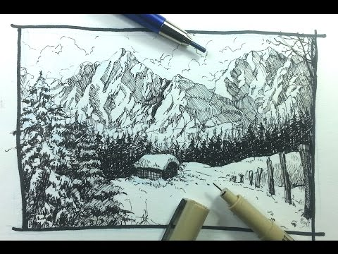 Pen & Ink Drawing Tutorials | How to draw a winter landscape