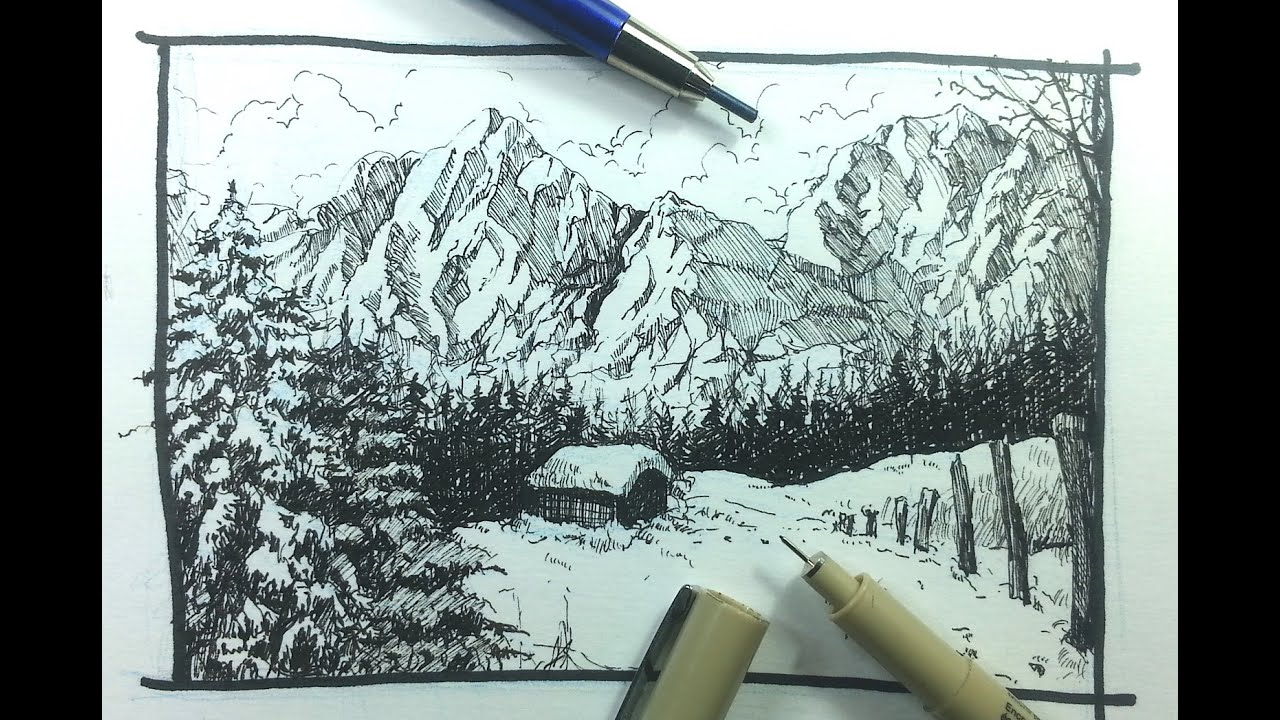 Simple pen and ink landscapes the image for Ink drawings easy