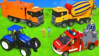 Arabalar çizgi film, Ekskavatör ve Yeni, Traktör  - Itfaiyeci oyuncak - polis arabası Toys for kids