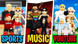 SPORTS FAMILY vs MUSIC FAMILY vs YOUTUBE FAMILY in Roblox BROOKHAVEN RP!!