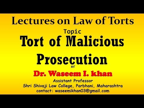 Malicious Prosecution | Tort Of Malicious Prosecution| Trespass To Person.