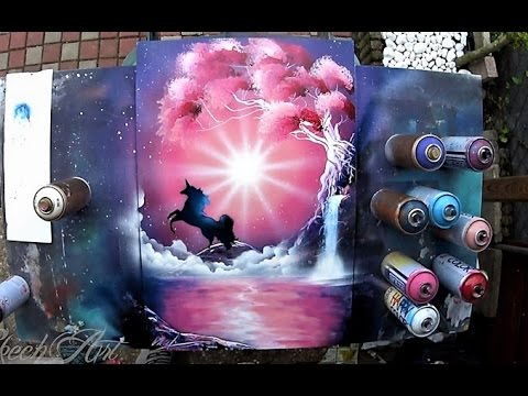 pink unicorn spray paint art by skech youtube. Black Bedroom Furniture Sets. Home Design Ideas