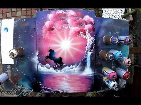 Pink Unicorn - SPRAY PAINT ART - By Skech - YouTube