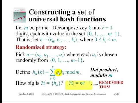 Analysis or Algorithms -- Series 1: (11) Hashing, Universal Hashing, Perfect Hashing