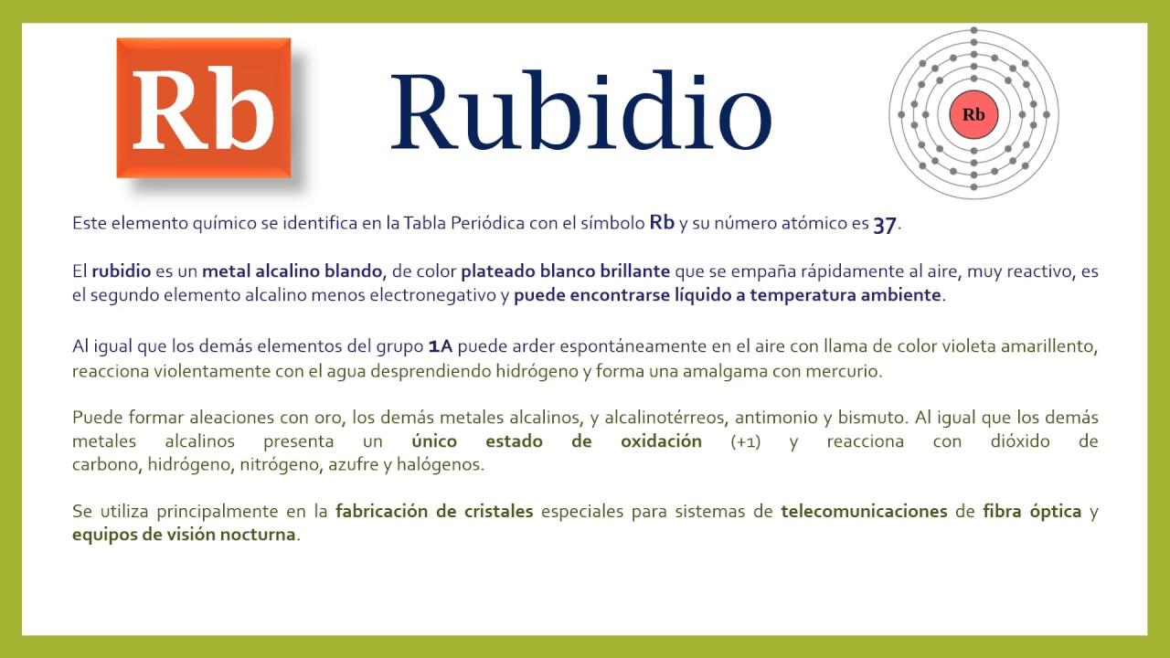 Carctersticas del rubidio youtube carctersticas del rubidio urtaz Choice Image