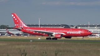 4K | Air Greenland Airbus A330 OY-GRN landing and takeoff @ Hamburg Airport