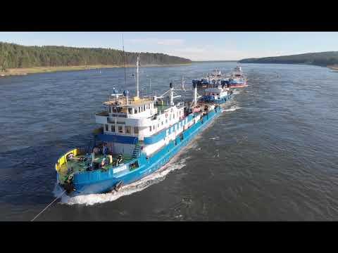 видео: Река Енисей. Подъем состава в Казачинский порог.