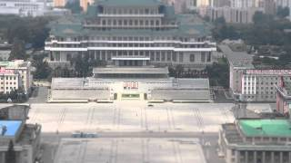 DPRK Tilt shift - Kim Il Sung square from Juche Tower.
