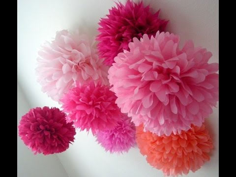 How To Make Pom Pom Flower With Crepe Paper In Just 2mins Youtube