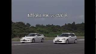 Best Motoring Drag Race 1996 Integra Type R Vs Civic Type R 1/4 Mile 0-400m