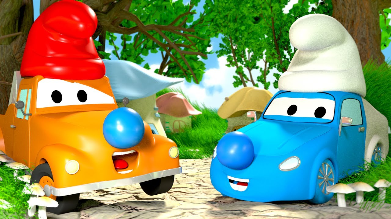 tom-the-tow-truck-s-paint-shop-tyler-becomes-a-smurf-truck-and-cars-cartoons-for-kids
