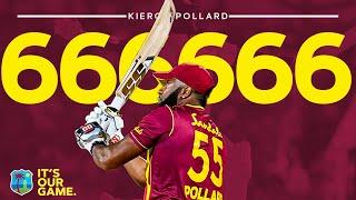 Kieron Pollard H TS Six Sixes In An Over West  Ndies Vs Sri Lanka 1st CG  Nsurance T20