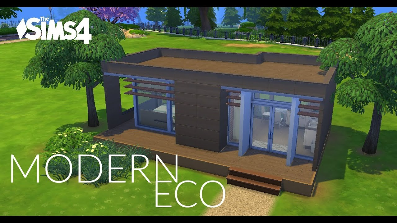 Sims 4 house building modern eco 10x10 challenge