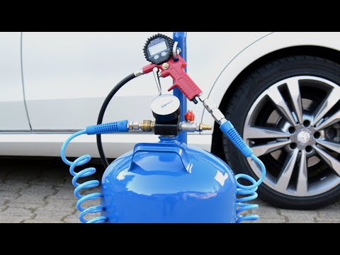 Compressor tank - Make compressed air tank from a propane gas bottle with tire inflator - Kompressor